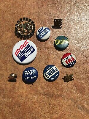 Vintage Political Hat Pin Pinback Lot - Ike, Ewing, Chafer, Pat For 1st Lady