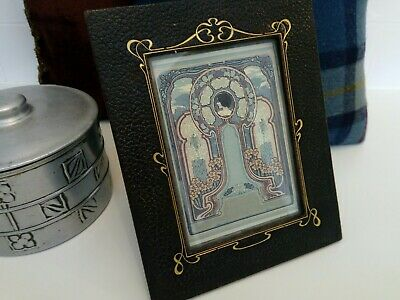 Art Nouveau Leather Picture Frame with Secessionist Print