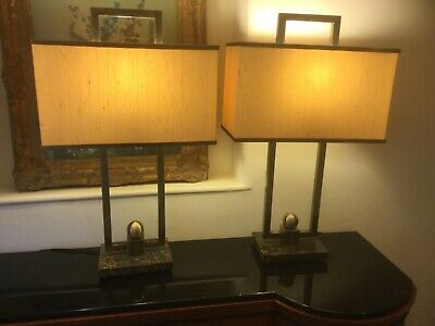 Willy Rizzo style brass and marble pair lamps, original shades Hollywood Regency