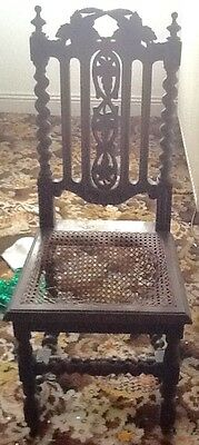Set of 4 Victorian Gothic Jacobean Style Chairs for Restoration