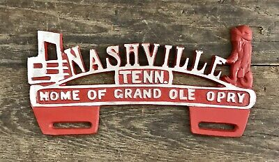 """NASHVILLE, Tennessee """"Home of Grand Ole Opry"""" Vintage License Plate Tag Topper"""