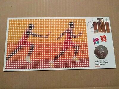 2012 Olympics Track Athletics 50p Coin Cover FDC PNC