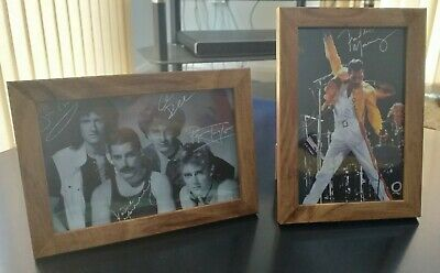 2 x Signed Queen Rock Band & Freddie Mercury Autographs 6x4 Framed Prints