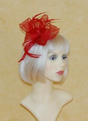 Elegant Red Sinamay Loops Fascinator With Feathers On Hair Comb.