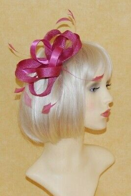 Elegant Dusky Pink Sinamay & Satin Loops Fascinator With Feathers On Hair Comb.