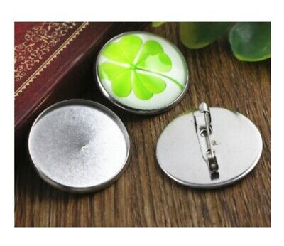 25mm Brooches Findings Brooch Pins Base Setting Cabochons Brooch Blanks Trays