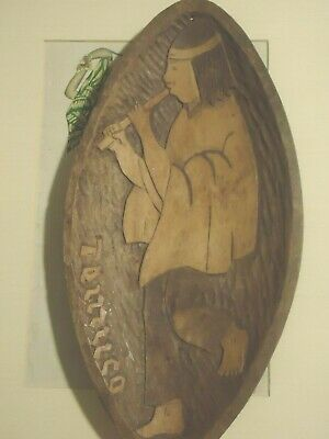 Old Signed Indian Native Flute Player Wooden Canoe Boat Bowl Serve Tray