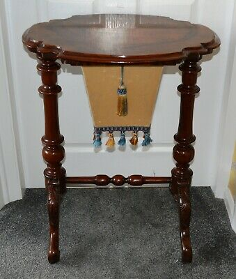 Antique Victorian Quality Walnut Work Sewing Table
