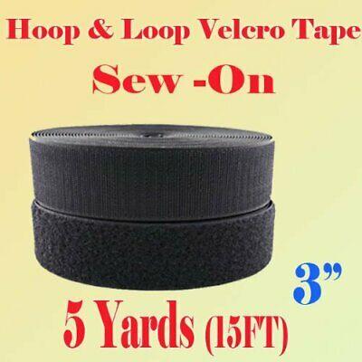 """3"""" (Inch) Width Black Or White Sew On Hook  Loop - Premium Grade Non-Adhesive S"""