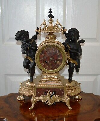 Antique Victorian Gilt Metal & Red Veined Marble Striking French Mantle Clock