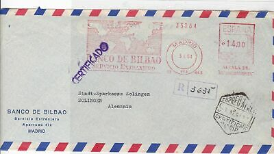 spain 1964 large commercial madrid registered stamps cover  Ref 9999