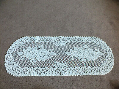 """Collectible Beautiful Heritage Lace Doily Crisp White 36 x 14"""" NICE"""