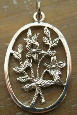 Sterling Silver Oriental Bouquet Chinoiserie Charm / Fob / Pendant - 925