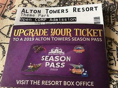 Alton Towers Tickets X 2 individual  Open Admission Valid Till 01/11/2019