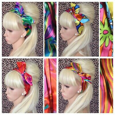 MULTICOLOUR EIGHTIES 80s PRINT BENDY WIRE HAIR WRAP WIRED SCARF HEAD BAND RETRO