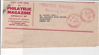 Great Britain 1966 Manchester Cancel Philatelic Magazine Stamp Wrapper Ref 23685