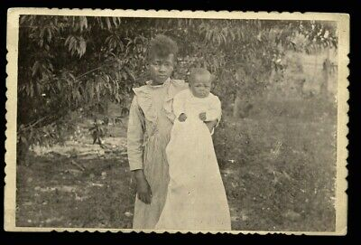 antique cabinet card photo 1800s little african american girl holding sister