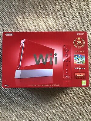 Nintendo Wii 25th Anniversary Super Mario Bros Red Wii Limited Edition Console