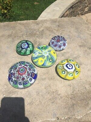 Murano Glass Paper Weight Collection Lot, 5 Count