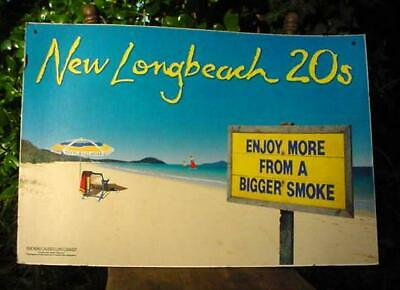 """VINTAGE """"NEW LONGBEACH 20s"""" CIGARETTE SIGN-SHOP ADVERT.-DOUBLE SIDED CARDBOARD!"""