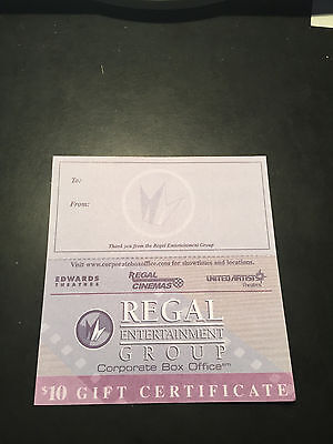 5 Regal Cinemas Movie $10 Gift Certificates Good 4 Admission Tickets&Concession