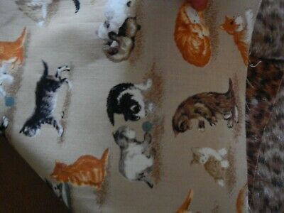 "Cat Theme Fabric  Quilting & Crafts 6 Different Prints Fat Quarters 22"" by 18"""