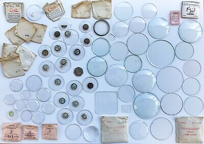 JOB LOT Of 76 ~ VINTAGE WATCH GLASSES ASSORTMENT OF SIZES