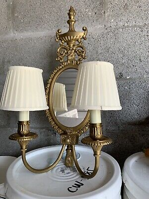 Set Of 4 Antique Gilt Bronze Leviton Light Wall Sconce Fixture French Style