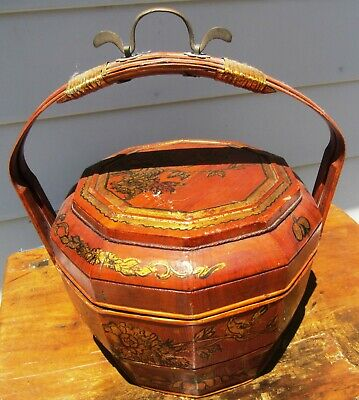 Gorgeous Antique Chinese Wedding Basket W/ Bamboo Handle 19Th Century Painted