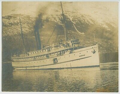 RARE VIEW OF STEAMSHIP SS JEFFERSON - 7x9 INCH REAL ANTIQUE ALBUMEN PHOTOGRAPH