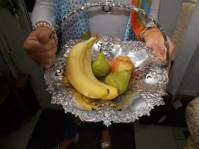 Large Victorian Silver Plated Rococo Style Basket Fruit Bowl Bread Etc