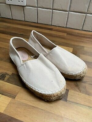 Ladies Next Natural Canvas Espadrille Slip On Shoes Size 6