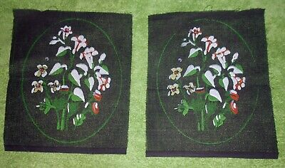 SET OF 2 - WHITE FLOWERS ON BLACK CANVAS PRINTED TAPESTRY NEEDLEPOINT 26x20.5cm