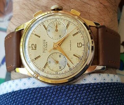 37mm Vintage Swiss Chronograph FULGOR Valjoux 92 Column Wheel, Gold Plated, 17j
