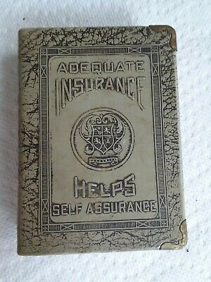 Vintage Coin Bank - Book Style - made by ZELL, NY for ADEQUATE INSURANCE.