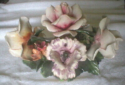 Capodimonte Italy Rose Floral Basket - Vintage