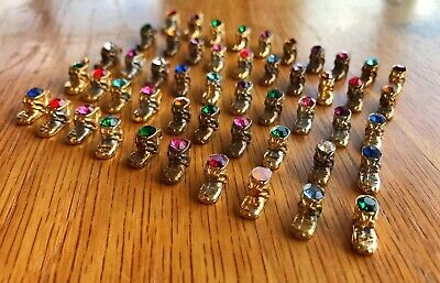 Lot of 50 GOLD PLATED Baby Shoe Boot Birthstone Crystal Charm Junk Drawer Find