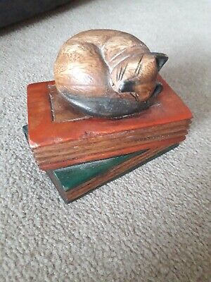 Sleeping Cat On Books Small Wooden Ornament