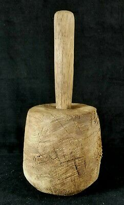 Antique Late 1800s To Early 1900s Handmade Wood Masher Or Pounder 10x5 Inch FINE
