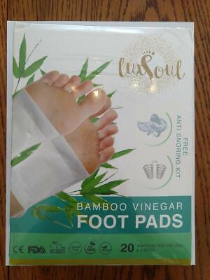 Bamboo Vinegar Foot Pads 20 Sheets with FREE Anti-Snoring Kit by LUXSOUL