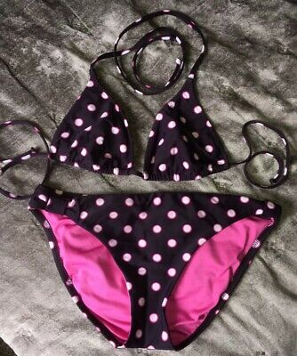 BECCA Medium Dark Plum Purple Pink and White Polka Dot Bikini Swimsuit EUC!!