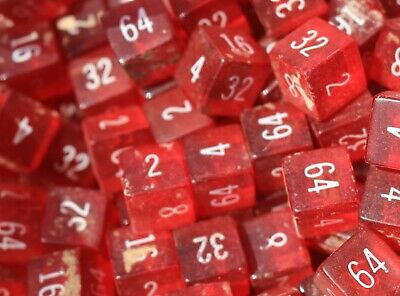 Genuine BAKELITE made  USA 1950's   red 15.5mm cubes 300 grams  with numbers