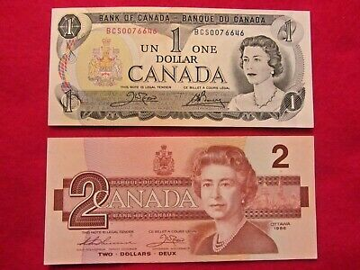 Super Duo  Canada  Bank  Note  1973  (One  Dollar ) +  1986  ( 2 Dollars)