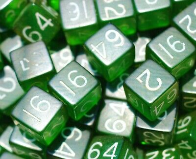 Genuine BAKELITE USA 1950's   green translucent 18mm cubes 300 gr with numbers