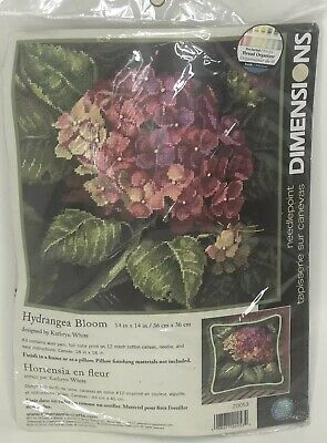 Dimensions Hydrangea Bloom Needlepoint  14 x 14 Complete Unopened Kit Wool Yarn