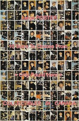 """THE BEATLES 1964 Un-Cut 132 Images = POSTER Not Trading Card 10 SIZES 18""""-4.5 FT"""