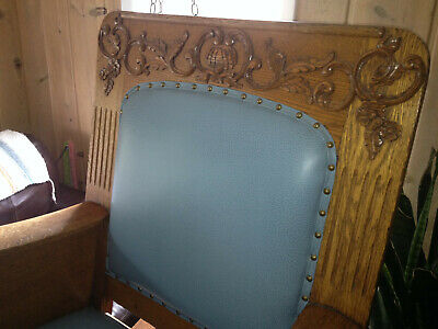 Mission Arts & Crafts Antique Rocking Chair Hand-Carved Paisley Ornate Rocker