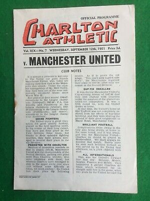Football programme Charlton Athletic v Manchester United 12th September 1951