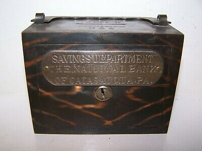 Vintage CATASAUQUA PA SAVINGS DEPT NATIONAL BANK COIN BANK PAT 1892 BURNS CO NY