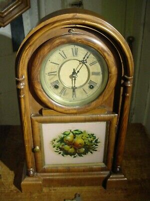 "Antique 1874 Early Ansonia Brass & Copper Rosewood ""Roman Round Top"" Shelf Clock"